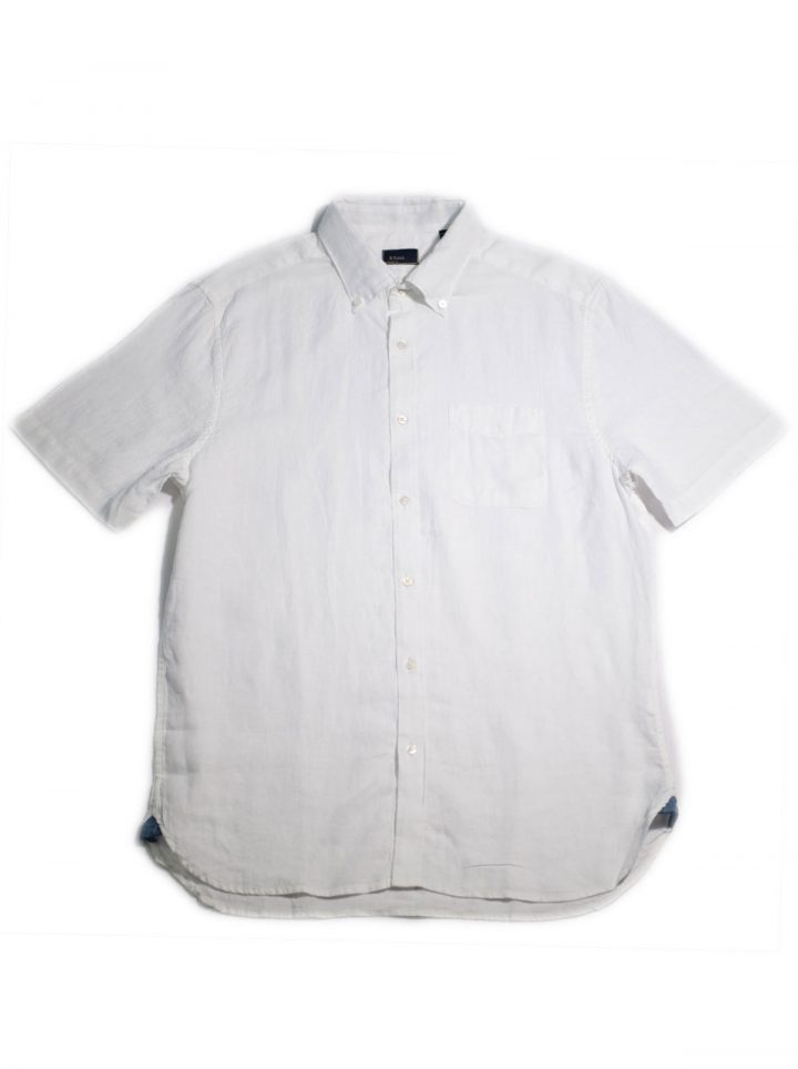 LINEN CHAMBRAY – WHITE BUTTON-DOWN COLLAR