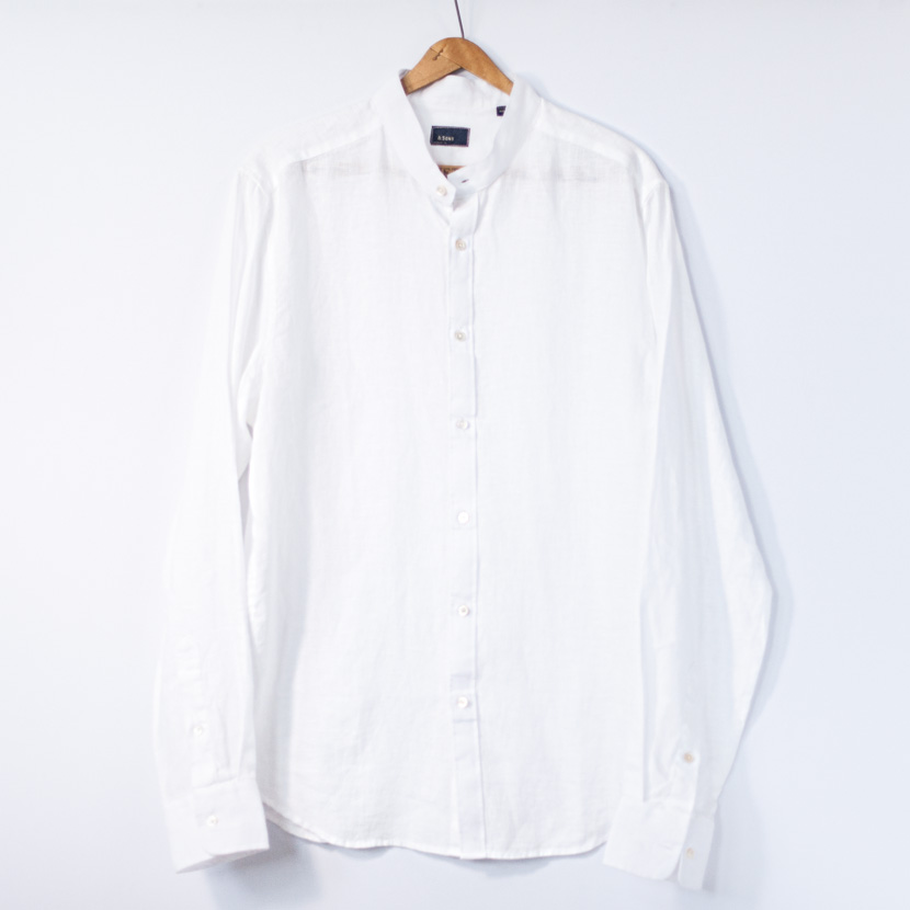 Banded Collar Linen White Sons Garment Co